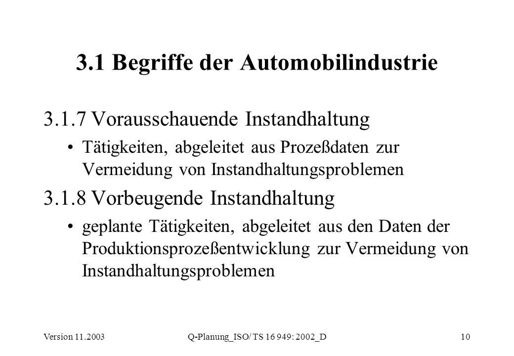Version 11.2003Q-Planung_ISO/ TS 16 949: 2002_D10 3.1 Begriffe der Automobilindustrie 3.1.7 Vorausschauende Instandhaltung Tätigkeiten, abgeleitet aus