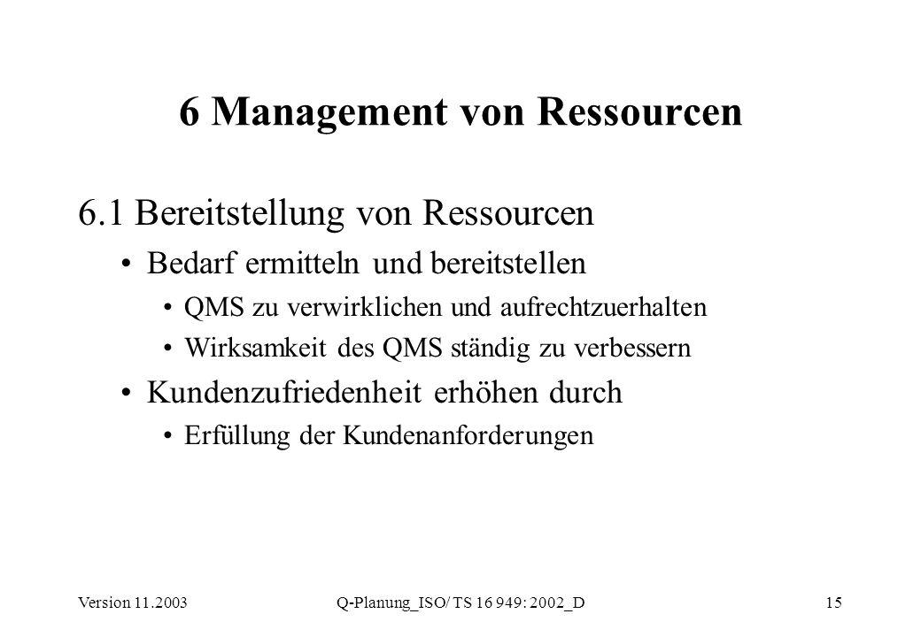 Version 11.2003Q-Planung_ISO/ TS 16 949: 2002_D15 6 Management von Ressourcen 6.1 Bereitstellung von Ressourcen Bedarf ermitteln und bereitstellen QMS