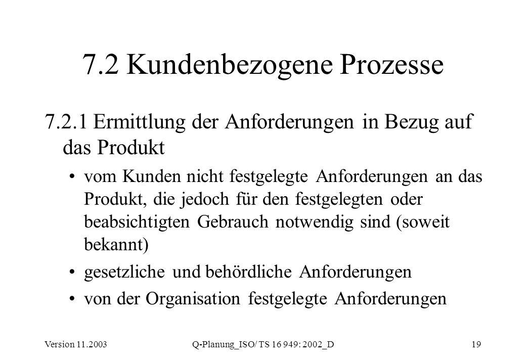 Version 11.2003Q-Planung_ISO/ TS 16 949: 2002_D19 7.2 Kundenbezogene Prozesse 7.2.1 Ermittlung der Anforderungen in Bezug auf das Produkt vom Kunden n