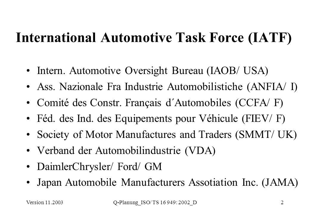 Version 11.2003Q-Planung_ISO/ TS 16 949: 2002_D3 ISO/ TS 16949: 2002 Literatur, US & Deutsche QS-9000 APQP + CP PPAP FMEA MSA SPC QSA Automobil-Industrie VDA 6.1 VDA 4.3 VDA 2 VDA 4.2 VDA 6.1