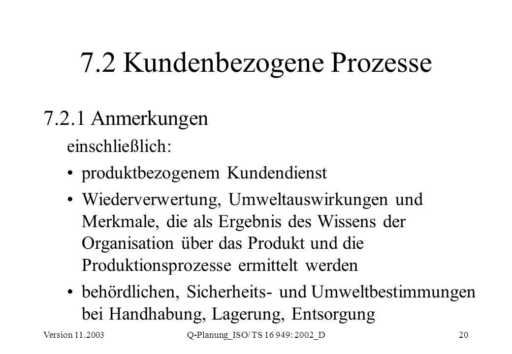 Version 11.2003Q-Planung_ISO/ TS 16 949: 2002_D20 7.2 Kundenbezogene Prozesse 7.2.1 Anmerkungen einschließlich: produktbezogenem Kundendienst Wiederve