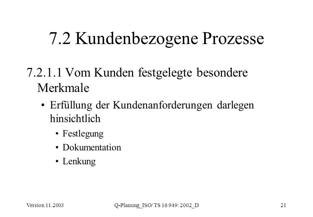 Version 11.2003Q-Planung_ISO/ TS 16 949: 2002_D21 7.2 Kundenbezogene Prozesse 7.2.1.1 Vom Kunden festgelegte besondere Merkmale Erfüllung der Kundenan