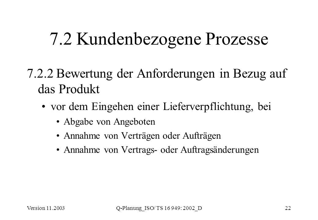 Version 11.2003Q-Planung_ISO/ TS 16 949: 2002_D22 7.2 Kundenbezogene Prozesse 7.2.2 Bewertung der Anforderungen in Bezug auf das Produkt vor dem Einge