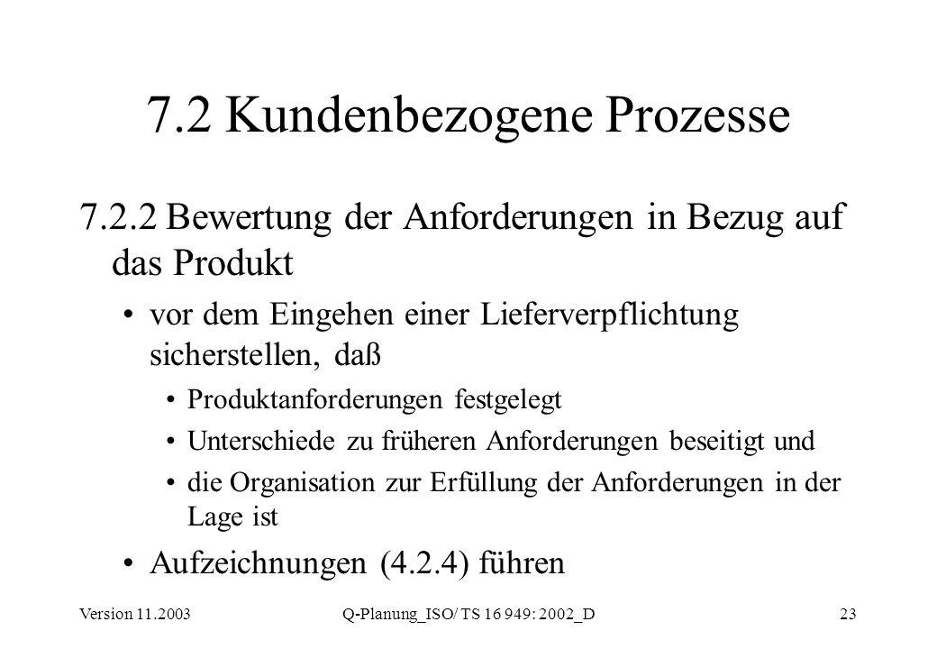 Version 11.2003Q-Planung_ISO/ TS 16 949: 2002_D23 7.2 Kundenbezogene Prozesse 7.2.2 Bewertung der Anforderungen in Bezug auf das Produkt vor dem Einge
