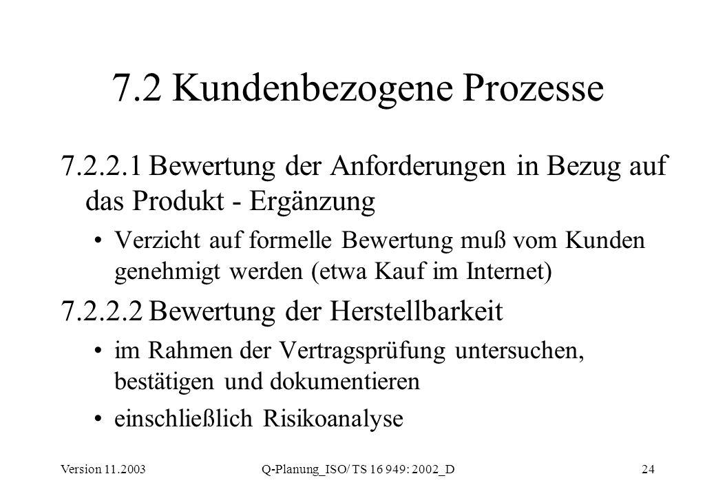 Version 11.2003Q-Planung_ISO/ TS 16 949: 2002_D24 7.2 Kundenbezogene Prozesse 7.2.2.1 Bewertung der Anforderungen in Bezug auf das Produkt - Ergänzung