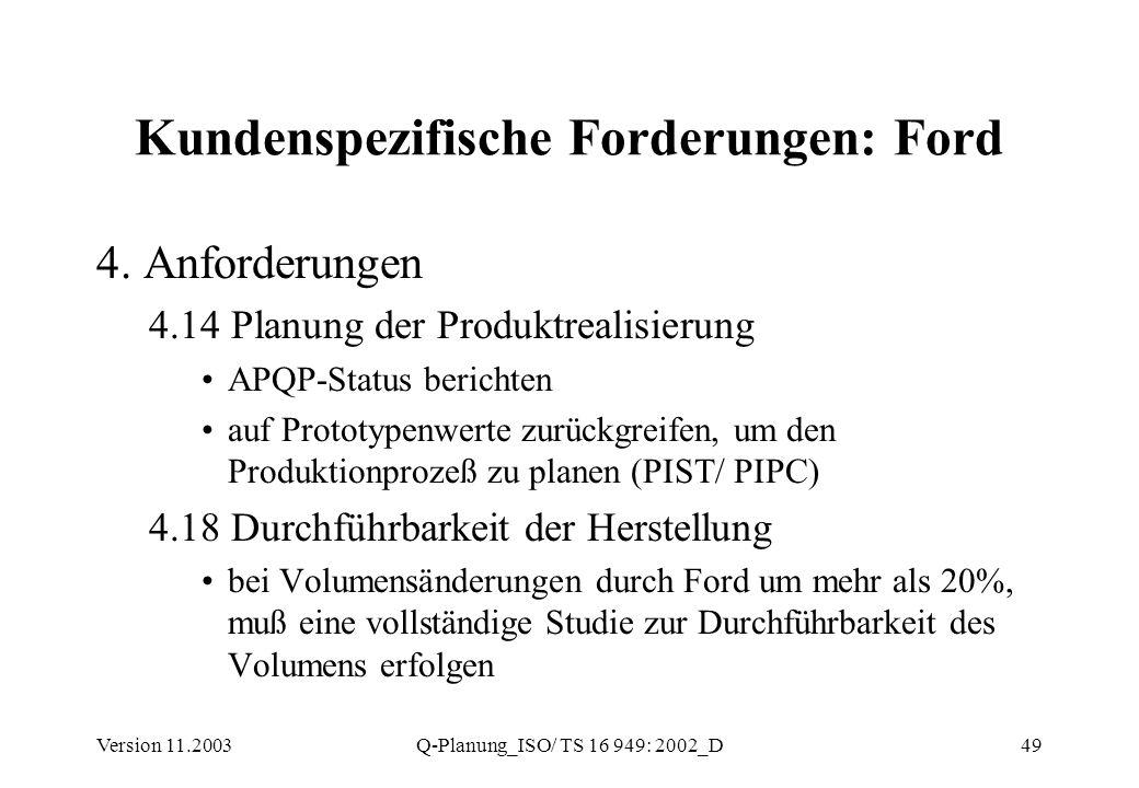 Version 11.2003Q-Planung_ISO/ TS 16 949: 2002_D49 Kundenspezifische Forderungen: Ford 4. Anforderungen 4.14 Planung der Produktrealisierung APQP-Statu