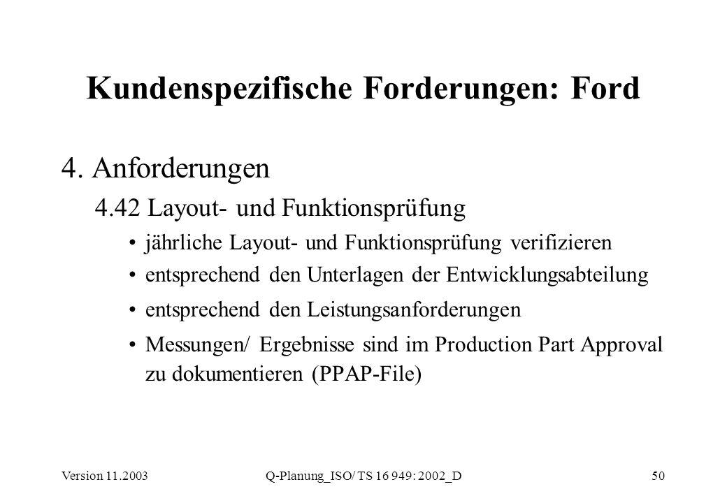 Version 11.2003Q-Planung_ISO/ TS 16 949: 2002_D50 Kundenspezifische Forderungen: Ford 4. Anforderungen 4.42 Layout- und Funktionsprüfung jährliche Lay
