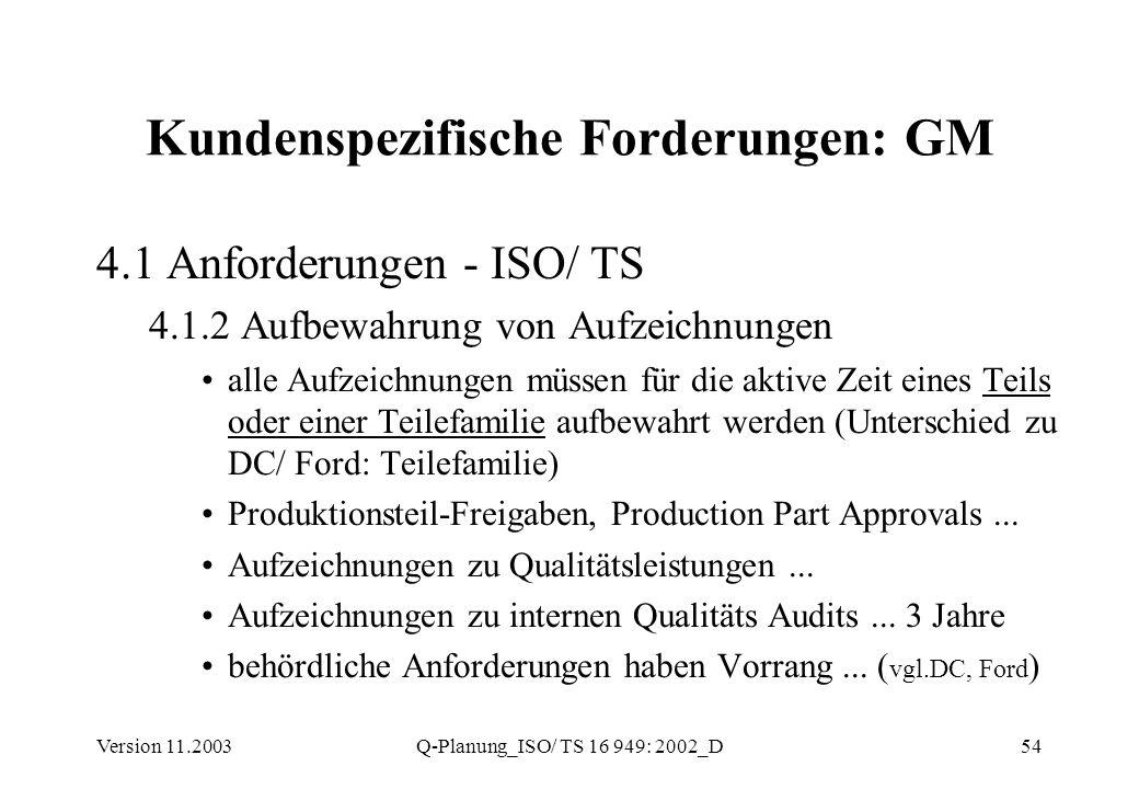 Version 11.2003Q-Planung_ISO/ TS 16 949: 2002_D54 Kundenspezifische Forderungen: GM 4.1 Anforderungen - ISO/ TS 4.1.2 Aufbewahrung von Aufzeichnungen