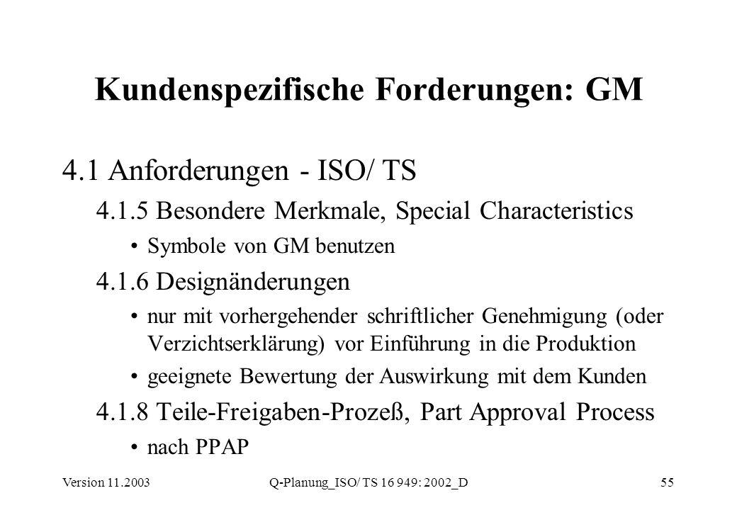 Version 11.2003Q-Planung_ISO/ TS 16 949: 2002_D55 Kundenspezifische Forderungen: GM 4.1 Anforderungen - ISO/ TS 4.1.5 Besondere Merkmale, Special Char