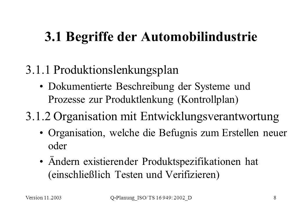 Version 11.2003Q-Planung_ISO/ TS 16 949: 2002_D8 3.1 Begriffe der Automobilindustrie 3.1.1 Produktionslenkungsplan Dokumentierte Beschreibung der Syst