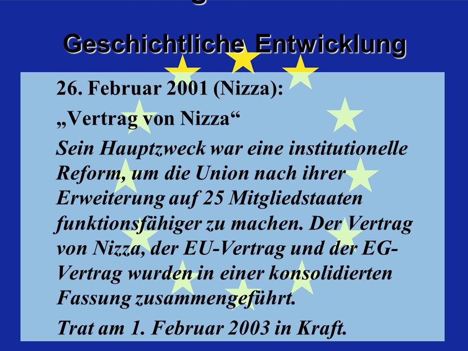 Geschichtliche Entwicklung Geschichtliche Entwicklung Vertrag von Nizza 26.