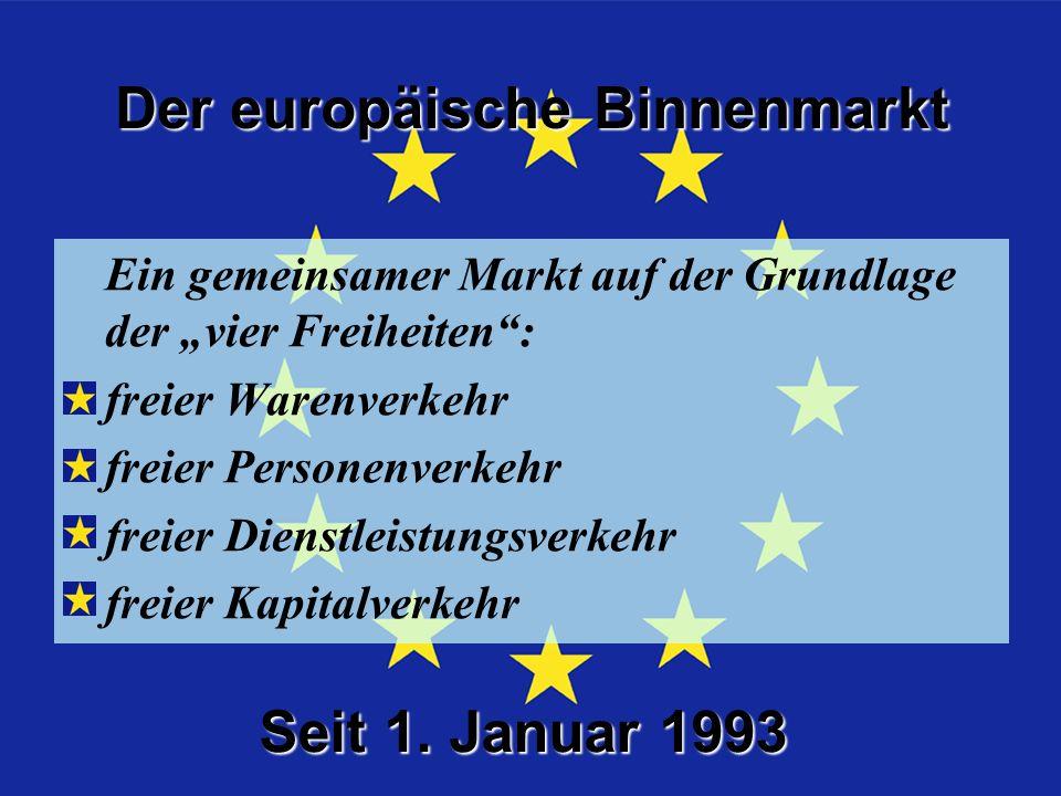Die 4 Freiheiten Ein gemeinsamer Markt auf der Grundlage der vier Freiheiten: freier Warenverkehr freier Personenverkehr freier Dienstleistungsverkehr freier Kapitalverkehr Seit 1.