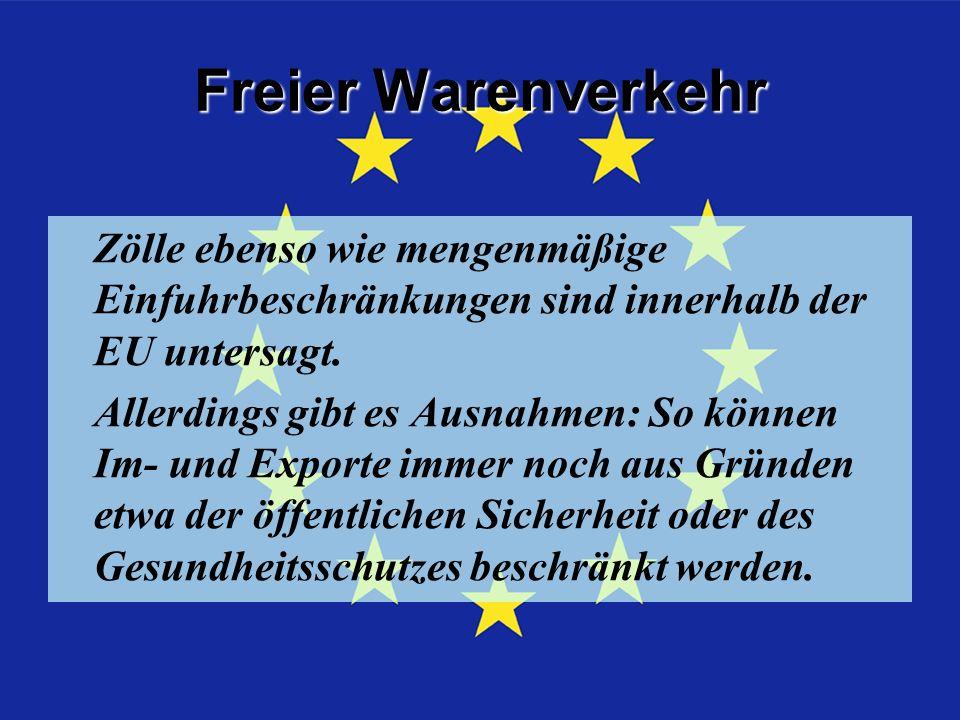 Freier Warenverkehr Zölle ebenso wie mengenmäßige Einfuhrbeschränkungen sind innerhalb der EU untersagt.