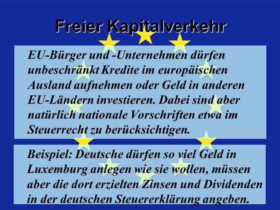 Freier Kapitalverkehr EU-Bürger und -Unternehmen dürfen unbeschränkt Kredite im europäischen Ausland aufnehmen oder Geld in anderen EU-Ländern investieren.