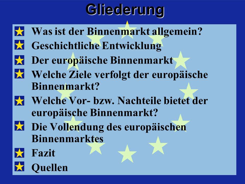 Der Binnenmarkt allgemein Ein Binnenmarkt ist ein abgegrenztes Wirtschaftsgebiet, welches durch die Freizügigkeit von Personen sowie den freien Verkehr von Waren, Dienstleistungen und Kapital gekennzeichnet ist.