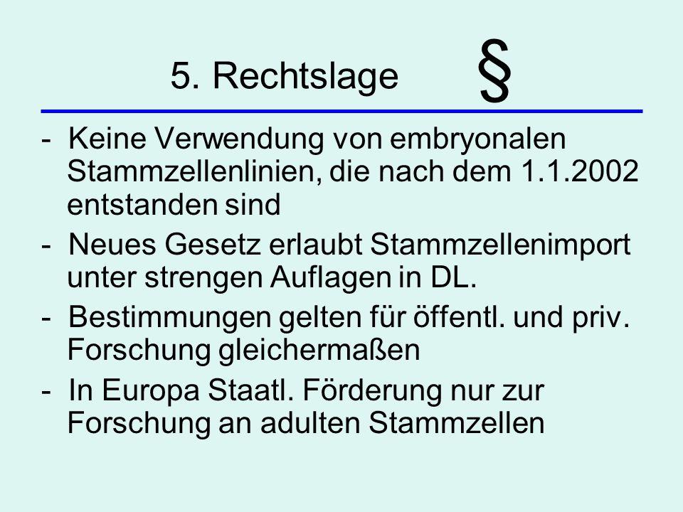 5. Rechtslage § - Keine Verwendung von embryonalen Stammzellenlinien, die nach dem 1.1.2002 entstanden sind - Neues Gesetz erlaubt Stammzellenimport u