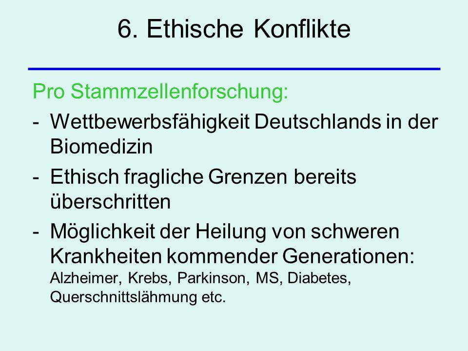 6. Ethische Konflikte Pro Stammzellenforschung: -Wettbewerbsfähigkeit Deutschlands in der Biomedizin -Ethisch fragliche Grenzen bereits überschritten