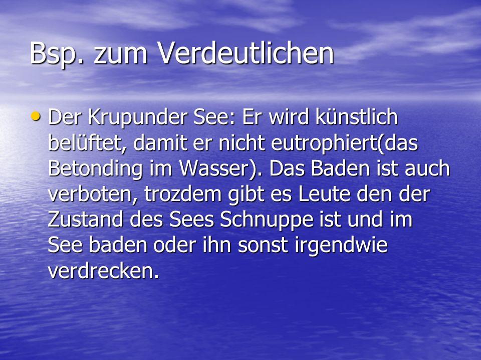 Fazit Fazit: Es gibt in Deutschland kaum nicht eutrophierte Seen, bis auf ein paar wenige Ausnahmen wie der Königssee. Die meisten werden durch Touris