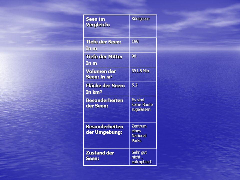 Seen im Vergleich: Königssee Tiefe der Seen: In m 190 Tiefe der Mitte: In m 90 Volumen der Seen: in m³ 551,8 Mio.