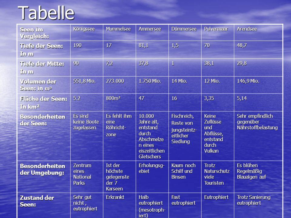 Tabelle Seen im Vergleich: KönigsseeMummelseeAmmerseeDümmerseePulvermaarArendsee Tiefe der Seen: In m 1901781,11,57048,7 Tiefe der Mitte: In m 907,237,8138,129,8 Volumen der Seen: in m³ 551,8 Mio.