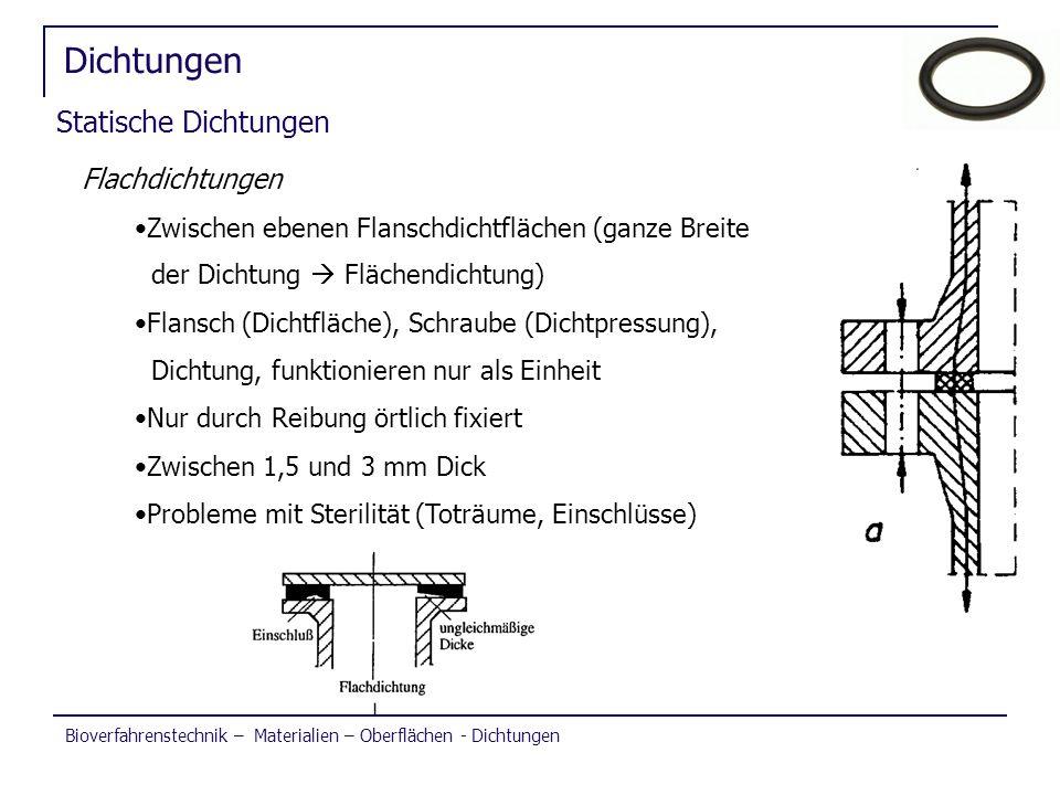 Bioverfahrenstechnik – Materialien – Oberflächen - Dichtungen Dichtungen Statische Dichtungen Flachdichtungen Zwischen ebenen Flanschdichtflächen (gan
