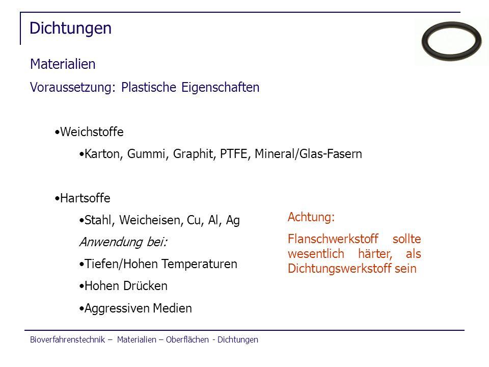 Bioverfahrenstechnik – Materialien – Oberflächen - Dichtungen Dichtungen Materialien Voraussetzung: Plastische Eigenschaften Weichstoffe Karton, Gummi