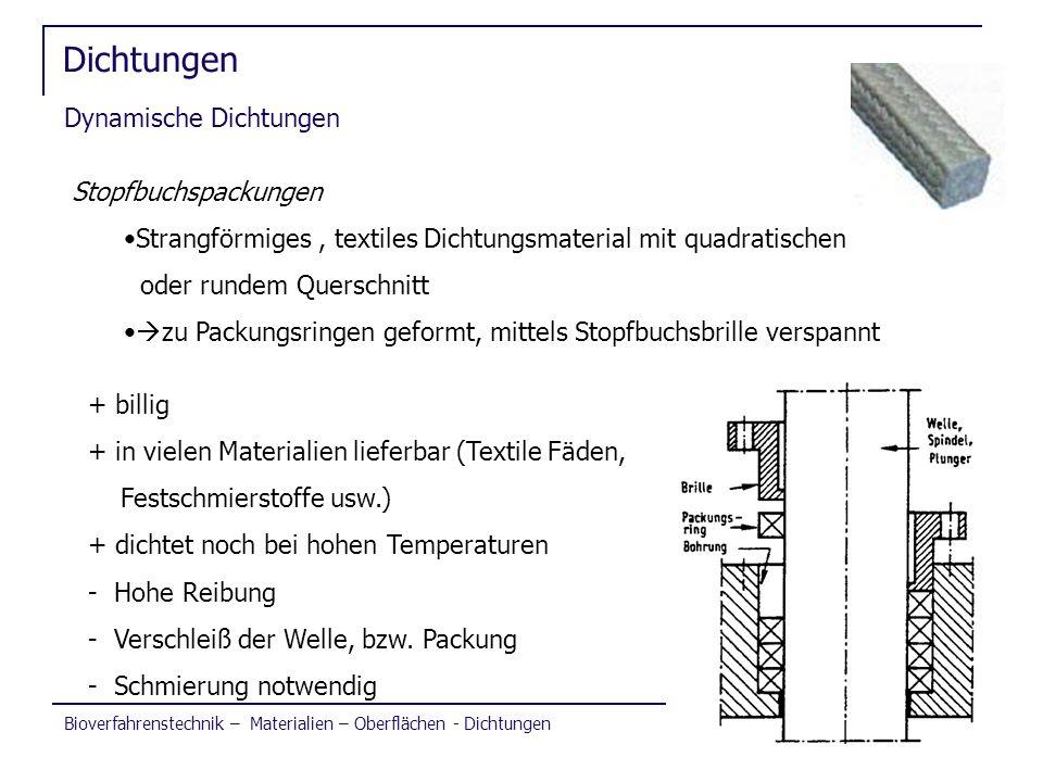 Bioverfahrenstechnik – Materialien – Oberflächen - Dichtungen Dichtungen Dynamische Dichtungen Stopfbuchspackungen Strangförmiges, textiles Dichtungsm