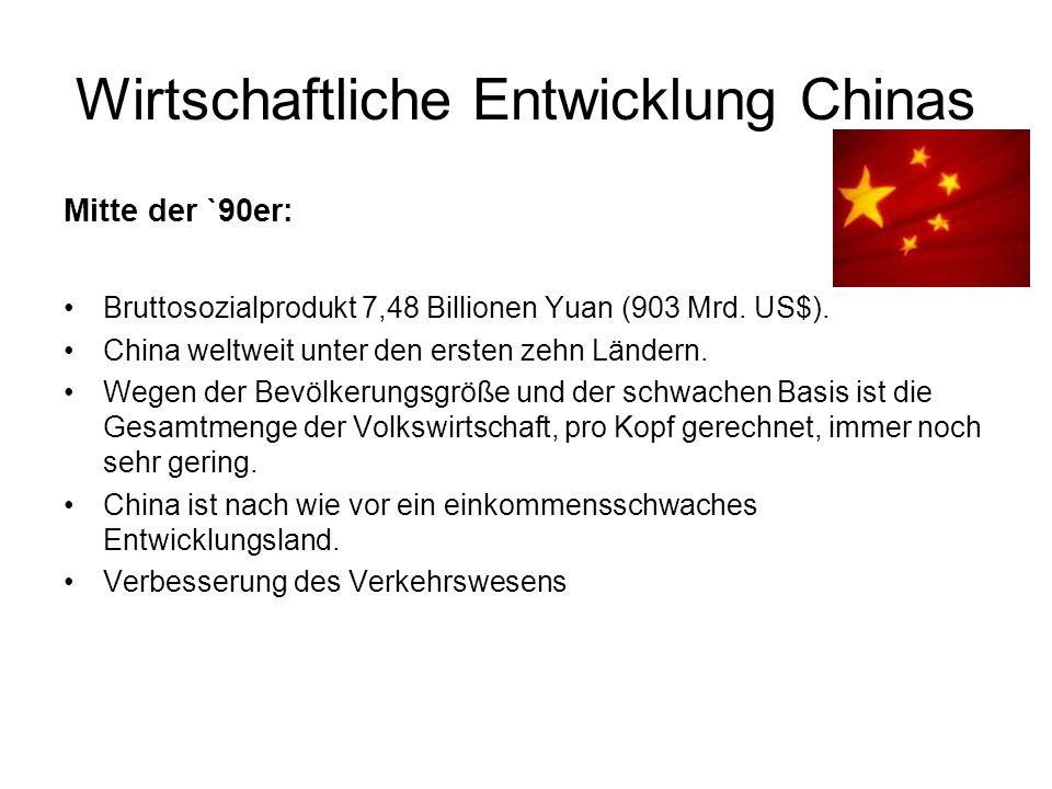Wirtschaftliche Entwicklung Chinas Mitte der `90er: Bruttosozialprodukt 7,48 Billionen Yuan (903 Mrd.