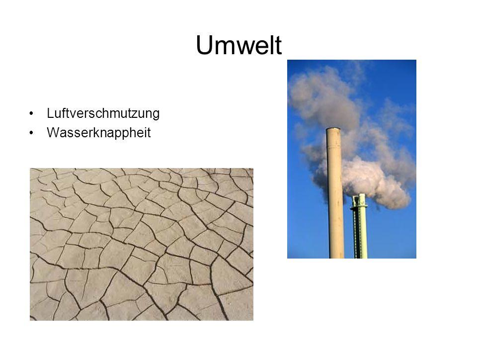 Umwelt Luftverschmutzung Wasserknappheit