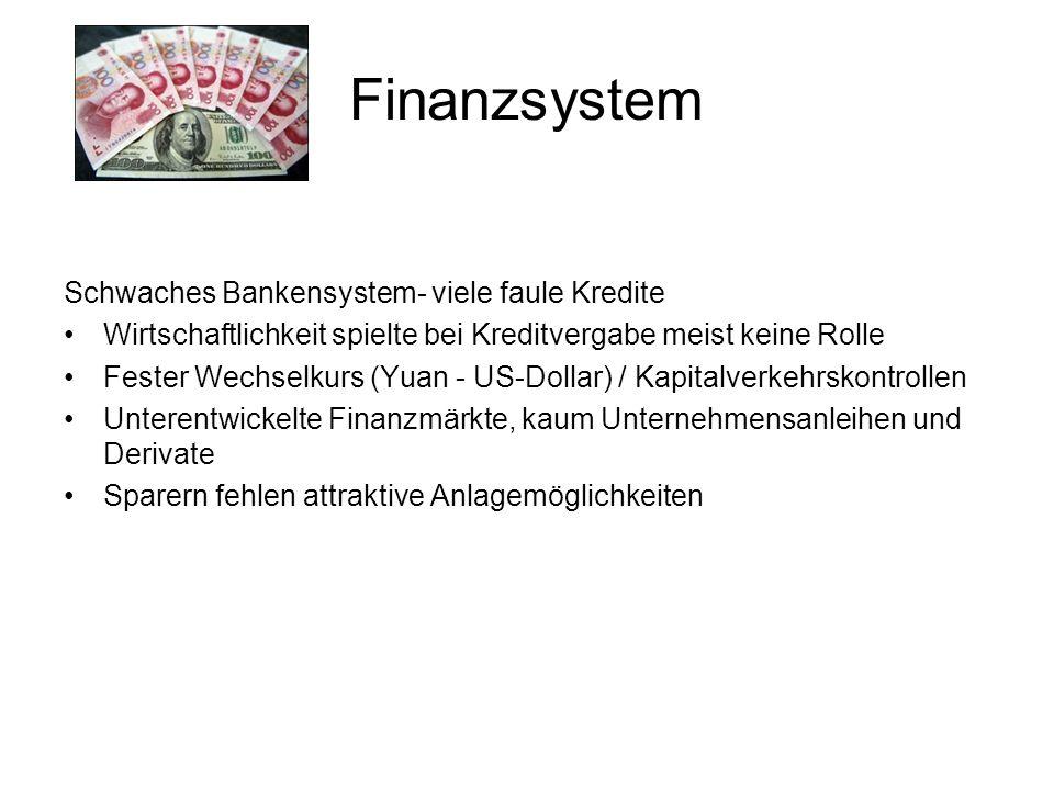 Schwaches Bankensystem- viele faule Kredite Wirtschaftlichkeit spielte bei Kreditvergabe meist keine Rolle Fester Wechselkurs (Yuan - US-Dollar) / Kapitalverkehrskontrollen Unterentwickelte Finanzmärkte, kaum Unternehmensanleihen und Derivate Sparern fehlen attraktive Anlagemöglichkeiten Finanzsystem