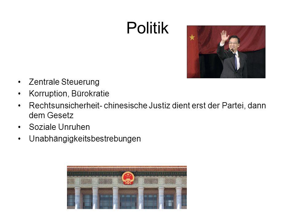 Politik Zentrale Steuerung Korruption, Bürokratie Rechtsunsicherheit- chinesische Justiz dient erst der Partei, dann dem Gesetz Soziale Unruhen Unabhängigkeitsbestrebungen