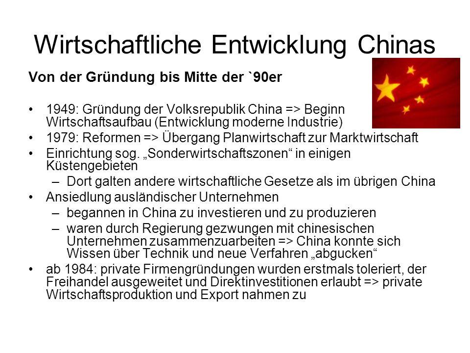 Wirtschaftliche Entwicklung Chinas Von der Gründung bis Mitte der `90er 1949: Gründung der Volksrepublik China => Beginn Wirtschaftsaufbau (Entwicklung moderne Industrie) 1979: Reformen => Übergang Planwirtschaft zur Marktwirtschaft Einrichtung sog.