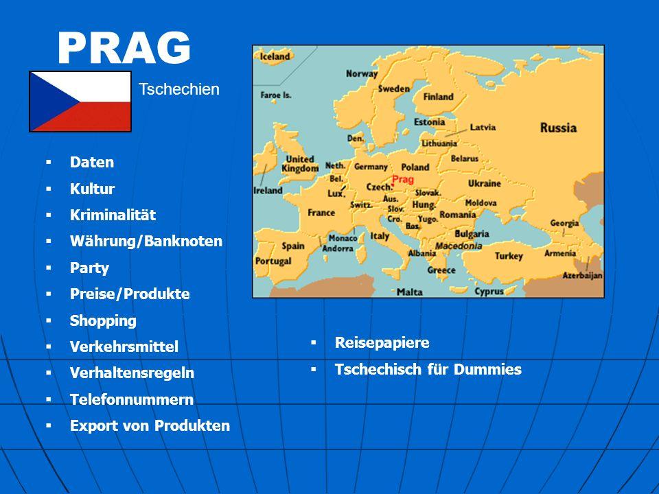 PRAG Tschechische Hauptstadt EINWOHNER: 1.200.000 FLÄCHE: 496 km² Prag ist bedeutendster Industriestandort der Tschechischen Republik: Maschinen- und Fahrzeugbau, Erdölraffinerie, Bekleidungs-, Druck-, pharmazeutische, chemische, feinmechanische, elektronische, elektrotechnische und Nahrungsmittelindustrie; internationaler Flughafen, Endpunkt der Elbeschifffahrt; U-Bahn.