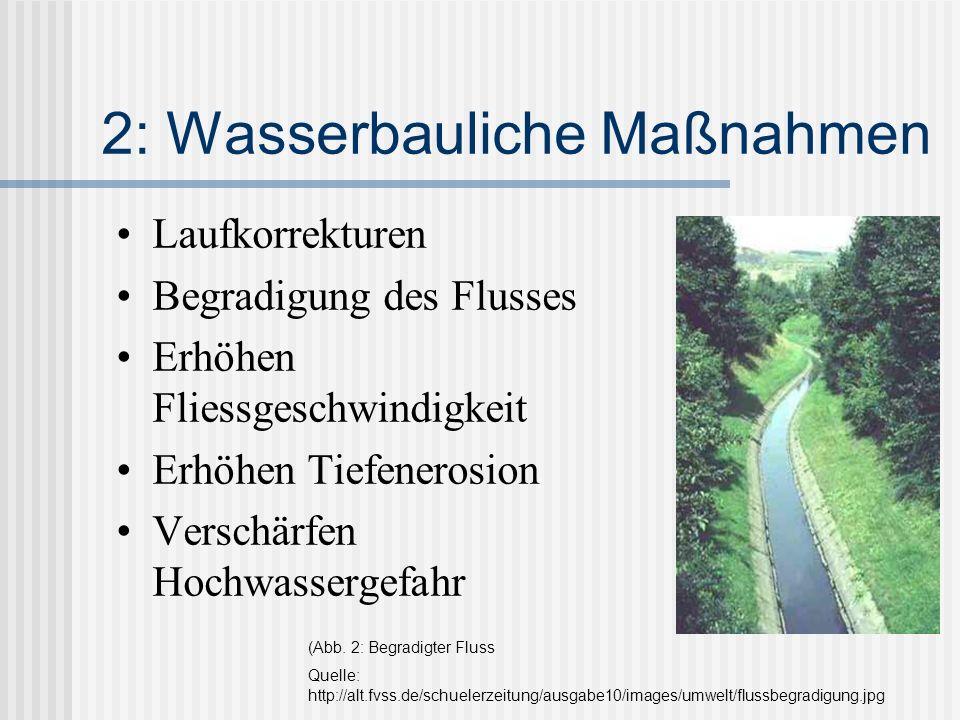 2: Wasserbauliche Maßnahmen Laufkorrekturen Begradigung des Flusses Erhöhen Fliessgeschwindigkeit Erhöhen Tiefenerosion Verschärfen Hochwassergefahr (Abb.