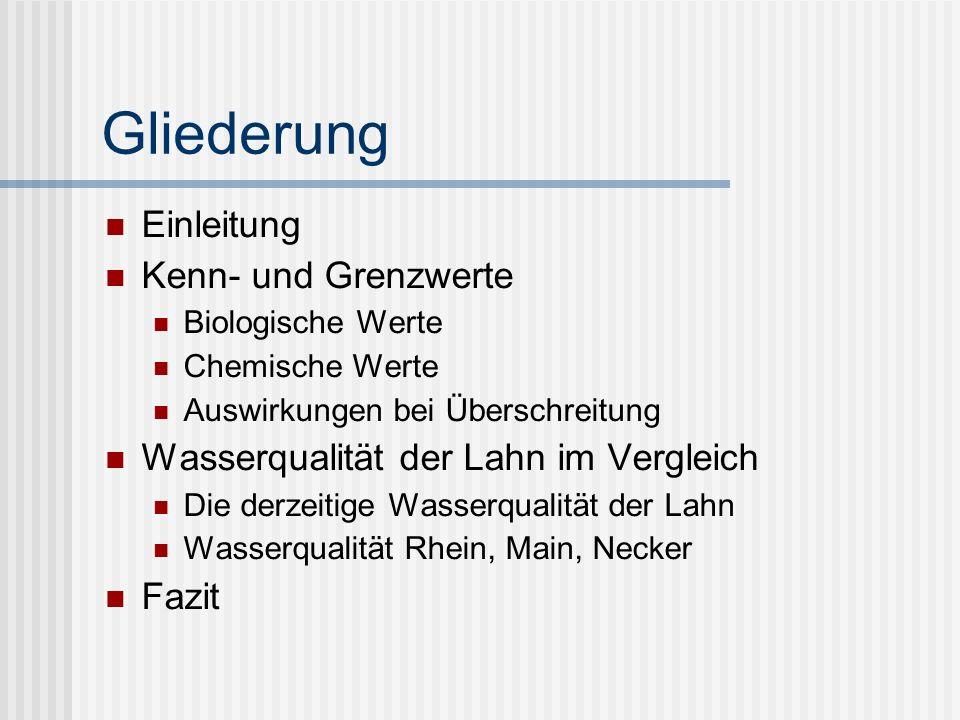 Gliederung Einleitung Kenn- und Grenzwerte Biologische Werte Chemische Werte Auswirkungen bei Überschreitung Wasserqualität der Lahn im Vergleich Die derzeitige Wasserqualität der Lahn Wasserqualität Rhein, Main, Necker Fazit