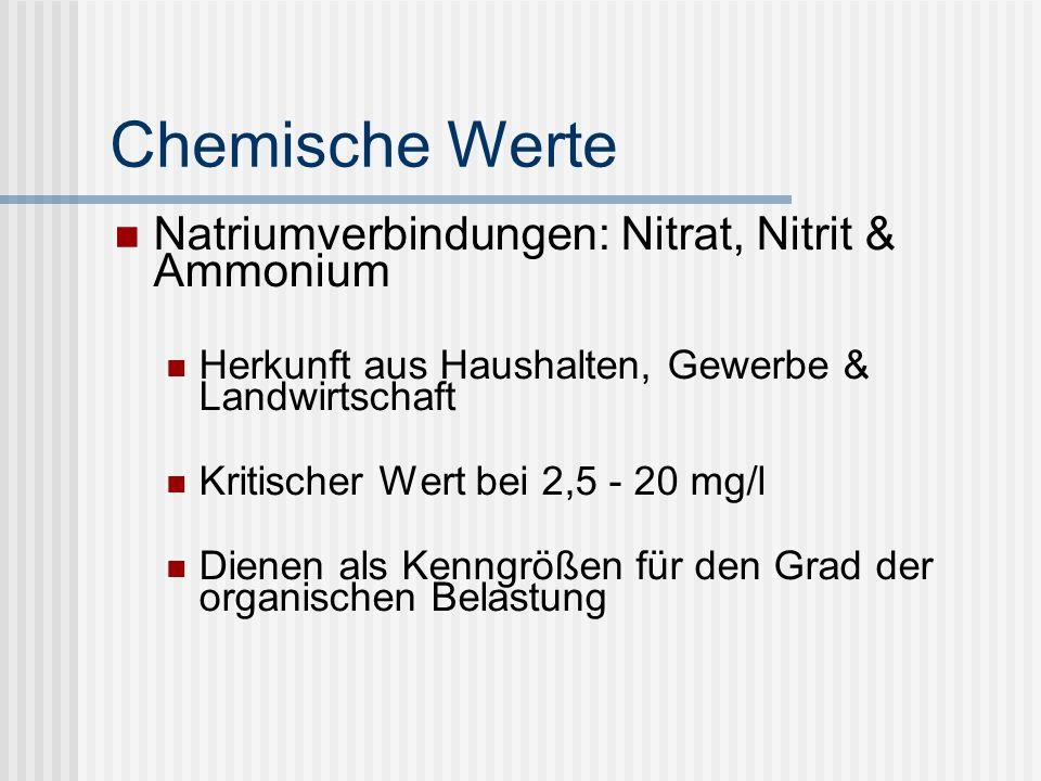 Chemische Werte Natriumverbindungen: Nitrat, Nitrit & Ammonium Herkunft aus Haushalten, Gewerbe & Landwirtschaft Kritischer Wert bei 2,5 - 20 mg/l Dienen als Kenngrößen für den Grad der organischen Belastung