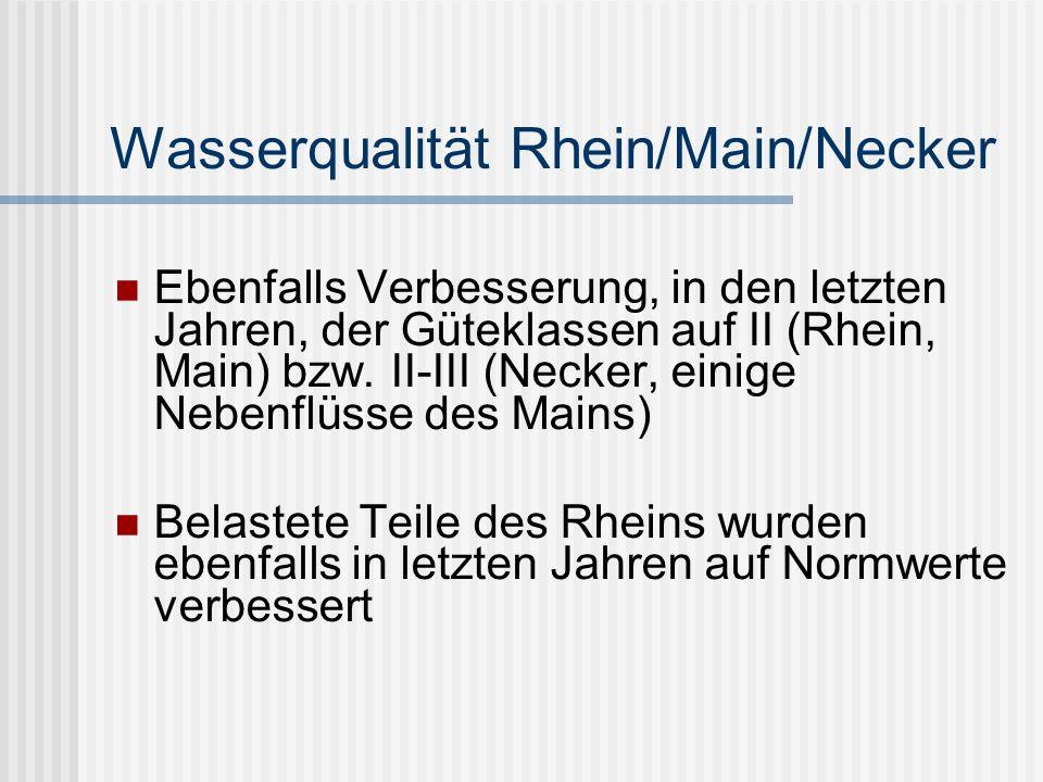 Wasserqualität Rhein/Main/Necker Ebenfalls Verbesserung, in den letzten Jahren, der Güteklassen auf II (Rhein, Main) bzw.