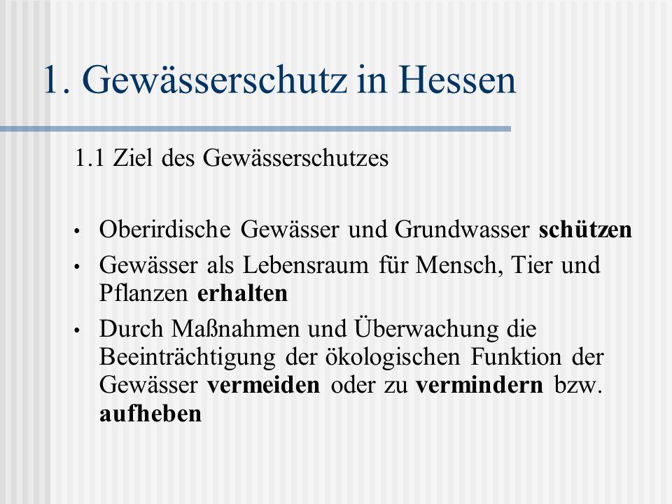 1. Gewässerschutz in Hessen 1.1 Ziel des Gewässerschutzes Oberirdische Gewässer und Grundwasser schützen Gewässer als Lebensraum für Mensch, Tier und