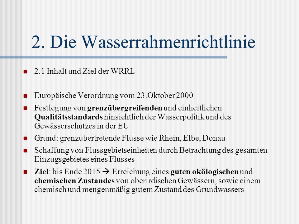 2. Die Wasserrahmenrichtlinie 2.1 Inhalt und Ziel der WRRL Europäische Verordnung vom 23.Oktober 2000 Festlegung von grenzübergreifenden und einheitli