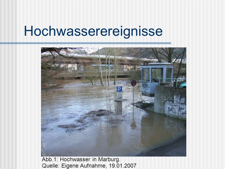 Hochwasserereignisse Abb.1: Hochwasser in Marburg. Quelle: Eigene Aufnahme, 19.01.2007