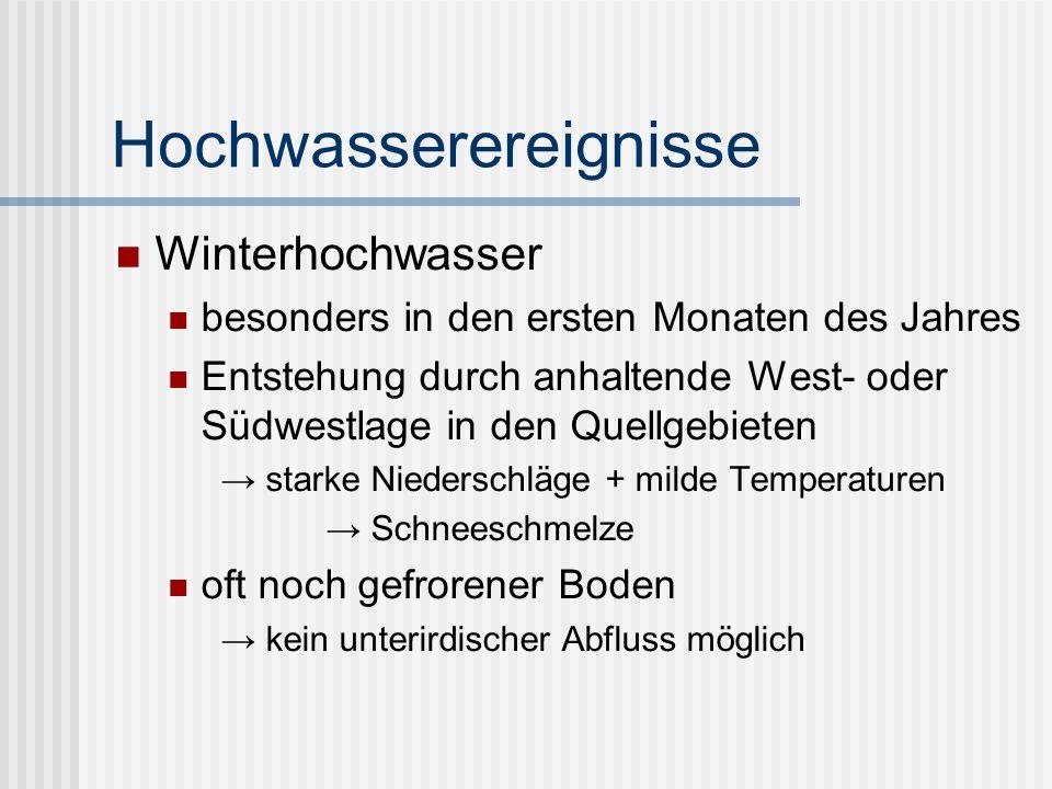 Hochwasserereignisse Winterhochwasser besonders in den ersten Monaten des Jahres Entstehung durch anhaltende West- oder Südwestlage in den Quellgebieten starke Niederschläge + milde Temperaturen Schneeschmelze oft noch gefrorener Boden kein unterirdischer Abfluss möglich