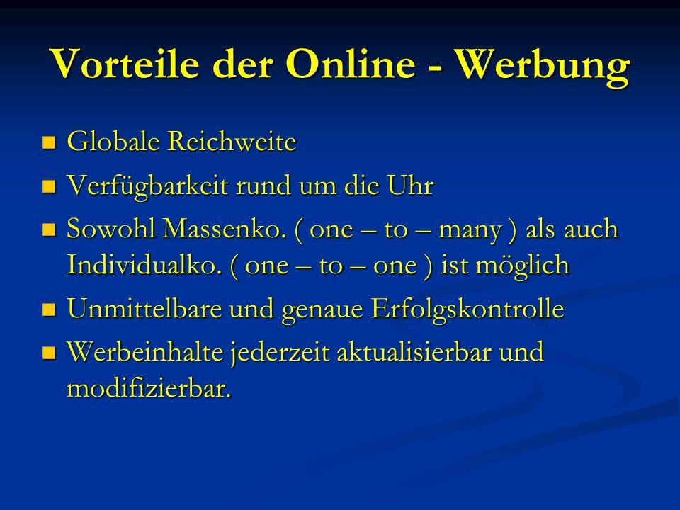 Wichtige Werbemittel Websites ( z.B.: www.manzschulbuch.at ) Websites ( z.B.: www.manzschulbuch.at )www.manzschulbuch.at Banner / Buttons : können als Hyper – oder Inline – Link gestaltet sein Banner / Buttons : können als Hyper – oder Inline – Link gestaltet sein E – Mail – Ads : direkte Zusendungen von Werbebotschaften an Mailbox des Konsumenten E – Mail – Ads : direkte Zusendungen von Werbebotschaften an Mailbox des Konsumenten Werbespiel : Im Rahmen eines Spiels sollen zugleich Werbeinhalte vermittelt werden Werbespiel : Im Rahmen eines Spiels sollen zugleich Werbeinhalte vermittelt werden