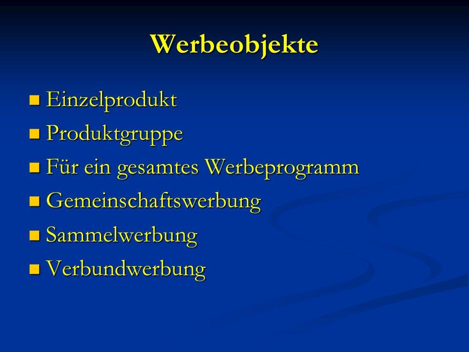 2.Spezielle Werbeziele Ökonomische Werbeziele Ökonomische Werbeziele (z.B.