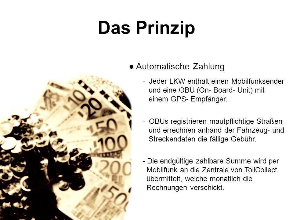 Das Prinzip Manuelle Zahlung: - LKW- Fahrer geben die Fahrzeug- und Streckendaten in eines von über 3500 Buchungsterminals ein, die sich an Raststätten oder Autobahnauffahrten befinden.