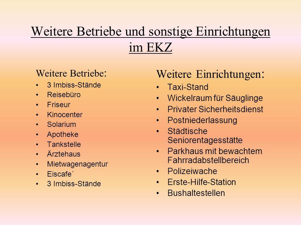 Die Mitarbeiter im EKZ Das gesamte Einkaufszentrum wird von der EKZ-Rheinpark- GmbH geleitet.