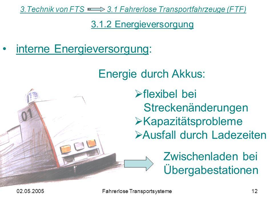02.05.2005Fahrerlose Transportsysteme12 interne Energieversorgung: Energie durch Akkus: flexibel bei Streckenänderungen Kapazitätsprobleme Ausfall durch Ladezeiten 3.Technik von FTS 3.1 Fahrerlose Transportfahrzeuge (FTF) 3.1.2 Energieversorgung Zwischenladen bei Übergabestationen
