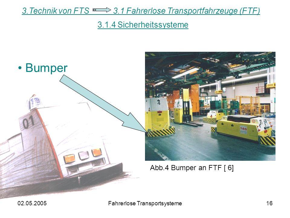 02.05.2005Fahrerlose Transportsysteme16 Bumper Abb.4 Bumper an FTF [ 6] 3.1.4 Sicherheitssysteme 3.Technik von FTS 3.1 Fahrerlose Transportfahrzeuge (FTF)