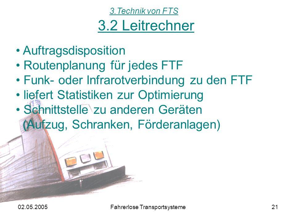 02.05.2005Fahrerlose Transportsysteme21 3.2 Leitrechner 3.Technik von FTS Auftragsdisposition Routenplanung für jedes FTF Funk- oder Infrarotverbindung zu den FTF liefert Statistiken zur Optimierung Schnittstelle zu anderen Geräten (Aufzug, Schranken, Förderanlagen)