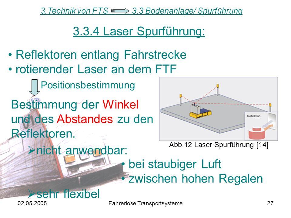 02.05.2005Fahrerlose Transportsysteme27 3.3.4 Laser Spurführung: Abb.12 Laser Spurführung [14] 3.Technik von FTS 3.3 Bodenanlage/ Spurführung Reflektoren entlang Fahrstrecke rotierender Laser an dem FTF Bestimmung der Winkel und des Abstandes zu den Reflektoren.