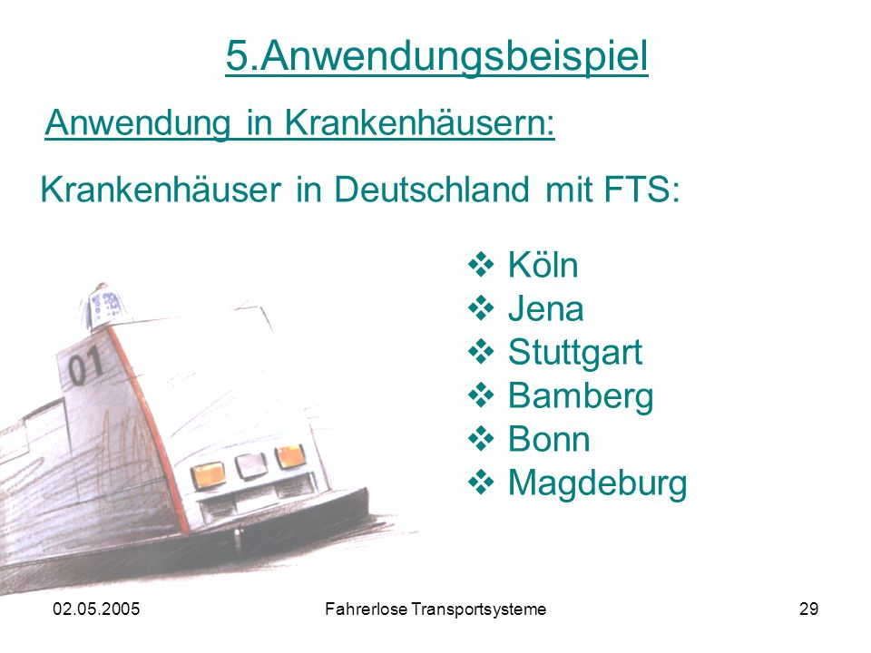 02.05.2005Fahrerlose Transportsysteme29 5.Anwendungsbeispiel Anwendung in Krankenhäusern: Krankenhäuser in Deutschland mit FTS: Köln Jena Stuttgart Bamberg Bonn Magdeburg